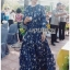 Lady Danielle Flower Printed Navy Blue Maxi Dress thumbnail 2