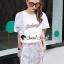 เสื้อขาวกางเกงลายริ้วชุดแฟชั่นลุคสาวเกาหลี thumbnail 3