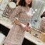 Lady Stella Flower Lace Dress in Beige thumbnail 3