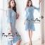 ชุดเดรสเกาหลีผ้าลูกไม้แขนยาวสีฟ้า thumbnail 2