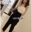 Lady Ribbon Lace and Black Crepe Jumpsuit thumbnail 4