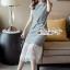 เดรสลุคสาวเกาหลี เนื้อผ้าทอลายสก็อตขาวดำ thumbnail 7