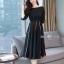ชุดเดรสเกาหลีผ้าพื้นสีดำเสื้อคอปาดเอวขอบ thumbnail 5