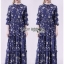 Lady Danielle Flower Printed Navy Blue Maxi Dress thumbnail 1