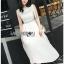 Lady Mia Embroidered Pleated Chiffon Dress thumbnail 3