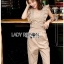 Beige Gold Lady Ribbon Jumpsuit thumbnail 4