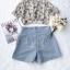 เสื้อเชิ๊ทเนื้อผ้าชีฟองแบบโปร่งพิมพ์ลายดอกไม้สีฟ้า thumbnail 7