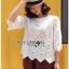 White Cotton Blouse Lady Ribbon ขายผ้าคอตตอนสีขาว thumbnail 2