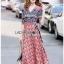 Lady Jane Red and Navy Printed Kimono Dress thumbnail 2