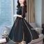 ชุดเดรสเกาหลีผ้าพื้นสีดำเสื้อคอปาดเอวขอบ thumbnail 3