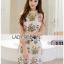 Dress เดรสผ้าลายตารางปักลายดอกไม้ thumbnail 3