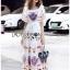 Dress เดรสผ้าเครปสีขาวพิมพ์ลายสีสดใส thumbnail 3