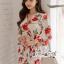 เดรสเนื้อผ้าเครปพิมพ์ลายดอกกุหลาบสีแดง thumbnail 3