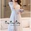 เดรสเกาหลีชุดสีขาวทรงคอกลมซีทรูช่วงอก thumbnail 4