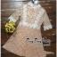 ชุดเดรสผ้าลูกไม้คอกลมสีนู๊ดอมชมพู thumbnail 4