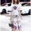 Dress เดรสผ้าเครปสีขาวพิมพ์ลายสีสดใส thumbnail 5