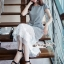 เดรสลุคสาวเกาหลี เนื้อผ้าทอลายสก็อตขาวดำ thumbnail 3