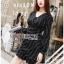 Black Mini Dress Lady Ribbon มินิเดรสผ้าเครปสีดำ thumbnail 1