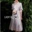 Shirt Dress with Ribbon เชิ้ตเดรสลายทางปักลาย thumbnail 4