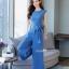 งานเกาหลีผ้าพื้นสีฟ้าเนื้อนุ่มเสื้อทรงคอกลมแขนกุด thumbnail 2