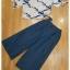 ยีนส์เกาหลีเสื้อผ้านุ่มเนื้อดีใส่สบายผ้าพิมพ์ลายดอกสีขาวน้ำเงิน thumbnail 8