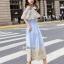 ชุดเดรสปักเกาหลีผ้าคอตตอนบายริ้วฟ้าขาว thumbnail 8