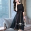 ชุดเดรสเกาหลีผ้าพื้นสีดำเสื้อคอปาดเอวขอบ thumbnail 4