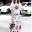 Dress เดรสผ้าเครปสีขาวพิมพ์ลายสีสดใส thumbnail 2
