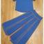 ผ้าสีพื้น เสื้อคอกลม ผ่าอกด้านหน้าเป็นตัววี กางเกงเอวสูง thumbnail 9