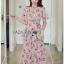 Lady Zoey Flower Printed Ruffle Zig-Zag Crepe Dress thumbnail 2