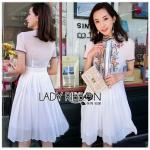 Pleated Chiffon Dress เดรสผ้าชีฟองสีขาว