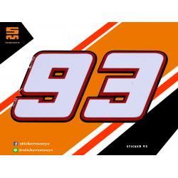 สติ๊กเกอร์ Marc Marquez 93 Sticker Marc Marquez 93 สีขาว 1 ชิ้น ขนาด 3.5 x 7 ซม.