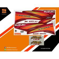 สติ๊กเกอร์ Suzuki RC100 Sticker ซูซูกิ rc100 ปี 2002 ติดรถ สีแดงเข้ม (เคลือบเงาแท้)