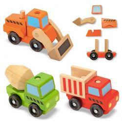 รถไม้เด็กเล่น Melissa and doug Stacking Construction Vehicles