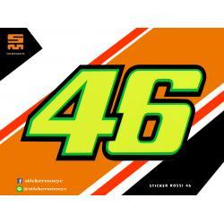 สติ๊กเกอร์ Rossi 46 Sticker Rossi 46 สีเหลือง มะนาว 1 ชิ้น ขนาด 4 x 7 ซม.