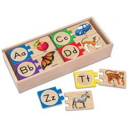 ตัวต่อไม้ตัวอักษร A-Z Melissa and doug Self-Correcting Alphabet Puzzle