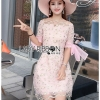 Lady Ribbon Mini Dress มินิเดรสผ้าทูลเลสีชมพู