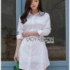 Chic Side-Lace Up Lady Ribbon Shirt Dress