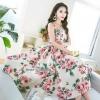 เดรส ผ้าสีครีมลายดอกกุหลาบสีชมพู