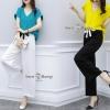 ชุดเซ็ทเสื้อกางเกงงานเกาหลีเสื้อผ้าสีพื้น