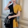 เดรสสุสีดำผ้าสีเหลืองคอสูทกระโปรงสั้นยาว