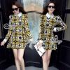 SV10310816 &#x1F389Sevy Custard Graphic Collar Long Sleeve Mini Dress Type: Mini Dress