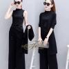 เสื้อผ้าชุดดำ ชุด Set 3 ชิ้น เสื้อคอกลม แขนกุด+กางเกงขายาว+เสื้อคลุมตัวยาว