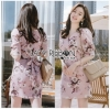 Sweet Feminine Floral Printed Pink Dress เดรสสีชมพู