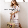Chic Colorful Embroidered Cotton Lady Ribbon Dress