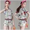Lady Ribbon Online ขายส่งเสื้อผ้าออนไลน์ เลดี้ริบบอน LR04280716 &#x1F380 Lady Ribbon's Made &#x1F380 Gucci Sweet Sporty Floral Printed Jacket and Shorts Set