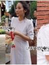 ชุดเดรสแฟชั่น เดรสเกาหลีผ้าคอตตอนปักลายสีขาวทรงคอสูง