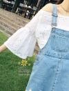เสื้อแฟชั่นเกาหลีเสื้อถักผ้าคอตตอน ปักฉลุ ผ้านิ่มไม่ระคายผิว