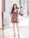 ชุดเดรสแฟชั่น เดรสเกาหลีขายดีมากกกก!! Mini Dress เดรสสายเดี่ยว ลายดอกไม้