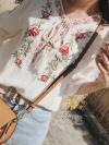เสื้อแฟชั่นเกาหลีเสื้อคอกลม มีเชือกผูกที่คอ ผ้าคอตตอน